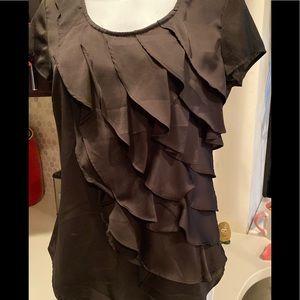 Black, ruffled top